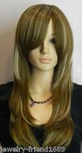 Wholesale heat resistant LY free shipping New Cosplay endearing Long Straight dark brown blonde Mixed wig