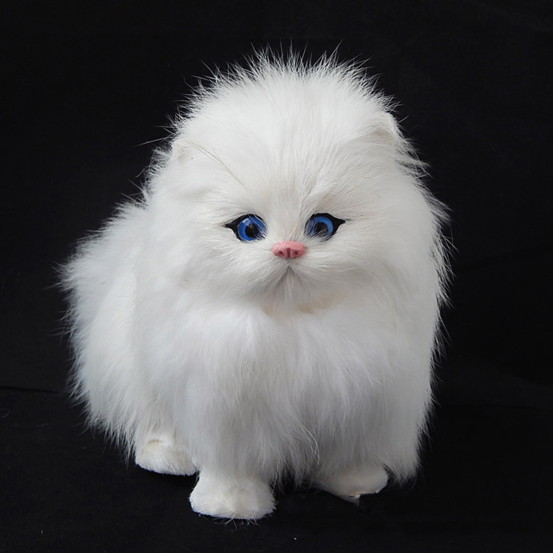 Real cabelo gato bonecas simulação animais de brinquedo gatos vai meowth crianças animais de estimação gato brinquedos de pelúcia ornamentos presente de aniversário eletrônico animal de estimação