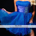 Cheap Price Multi-colors Strapless Beading Party Dress Above Knee Length Short Homecoming Dress Under $ 100