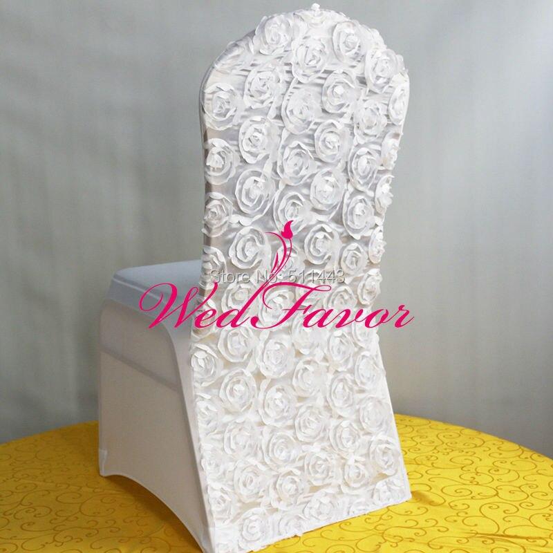 100pcs White Lycra Spandex Rosette Chair Covers Satin Rose