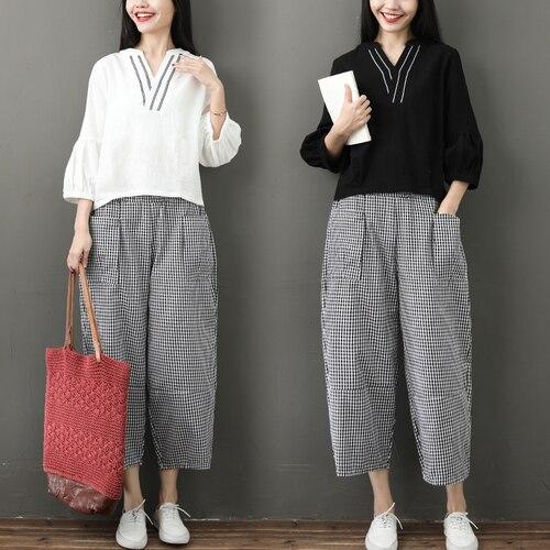 Spring Summer Cotton Linen 2 Piece Sets Women V-neck Blouses And Plaid Wide Leg Pants Suits Casual Loose Fashion Women's Sets 38