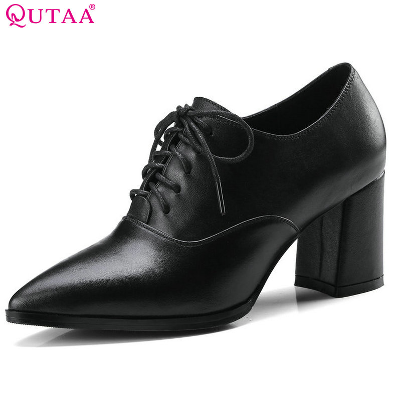 QUTAA 2018 Women Pumps Genuine Leather Square High Heel Shoes Lace Up Pointed Toe Elegant Black Ladies Casual Shoes Size 34-39 стоимость