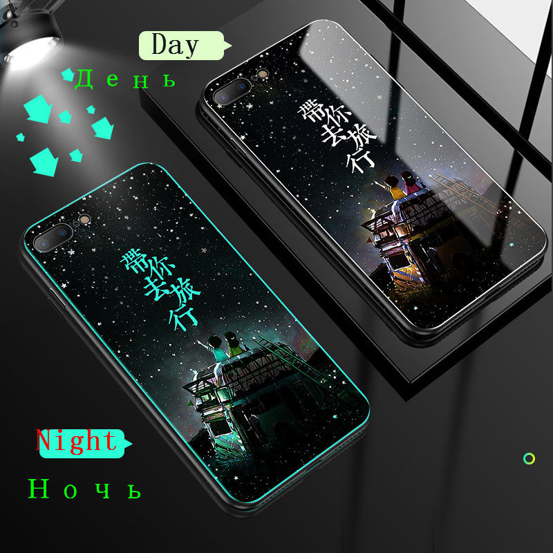 HTB101RmXN rK1RkHFqDq6yJAFXah Luminous Tempered Glass Case For iPhone 5 5S SE 6 6S 7 8 Plus Case Back Cover For iPhone X XR XS 11 Pro Max Case Cover Cell Bag