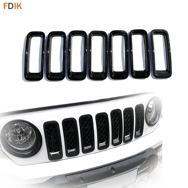 7pcs Front Glossy Black Grille Grill Inserts Trim Cover Frame Accessories For Jeep Patriot 2017 2016