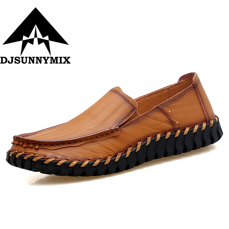 DJSUNNYMIX Big Size 38-47 Summer Genuine Leather Shoes Men Casual Moccasins Mens Slip-On Loafers Breathable Driving Black Shoes cbjsho british style summer men loafers 2017 new casual shoes slip on fashion drivers loafer genuine leather moccasins