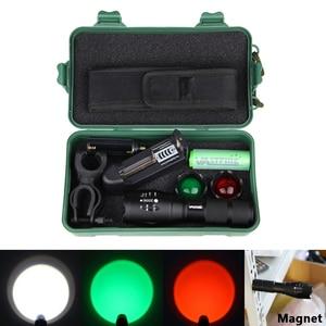 Image 3 - Xm l t6 led 조정 가능한 초점 토치 백색 녹색 빨강 zoomable 초점 5000 루멘 전술 플래쉬 등 사냥 빛 고성능 손전등