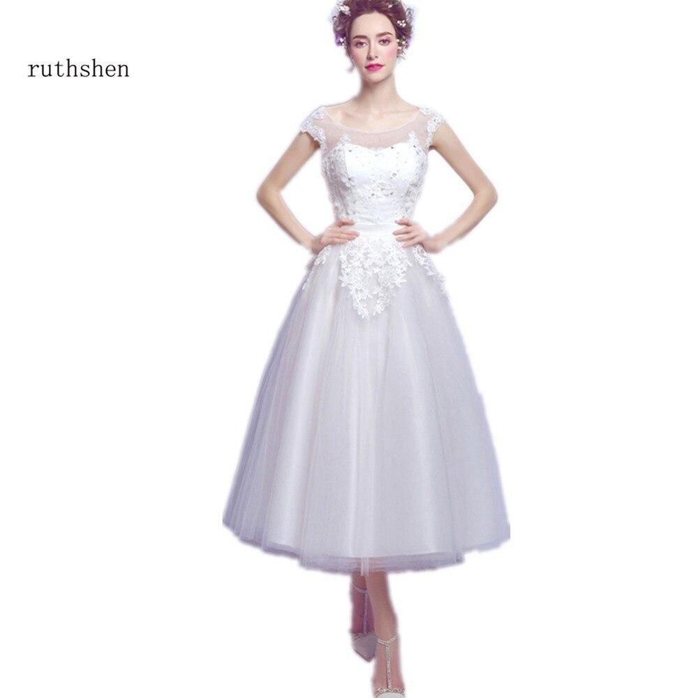 ruthshen Tea Length Wedding Dresses 2018 Cap Sleeves Lace Appliques Vintage Wedding Gowns Cheap Lace Up Back Bridal Dress