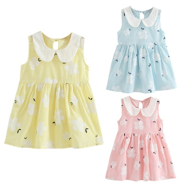 ab9ea6f2c209 2018 Summer Hot Sale Baby Girls Cute Dress Children Kids Print Sleeveless  Princess Dresses Newly Fashion Clothing LW