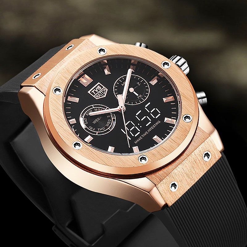 Man Watch 2019 TVG Top Brand Luxury Men Watches Waterproof Dual Time Analog Digital Quartz Watch Rose Gold Men's Watch Silicone