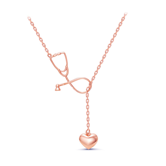 2 Colors Stethoscope Lariat necklace,Heart and Stethoscope Pendant for Doctor medical student Gift,the Doctor Nurse Jewelry