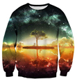 2016 New Arrive Harajuku Reflection Tree Sweatshirt Galaxy Space Sweatshirts Fashion Clothing Sweats Hoodies plus size S-3XL