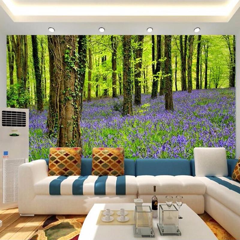 ᗖ3d Dinding Mural Wallpaper Pemandangan Alam Ungu Bunga Dan Hutan