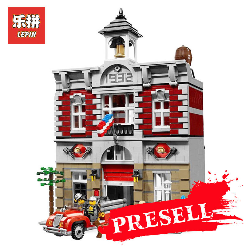 LEPIN 15004 2313Pcs City Street Creator Fire Brigade Model Building Kits Blocks Bricks Compatible LegoINGlys 10197 children toy lepin 15018 3196pcs creator city series sunshine hotel model building kits brick toy compatible christmas gifts