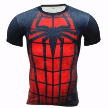 YCCRG New Men's BodyBuilding Clothing Sportswear Spiderman Sport T Shirt Fitness Tights Mens Training Exercise Sports T Shirt