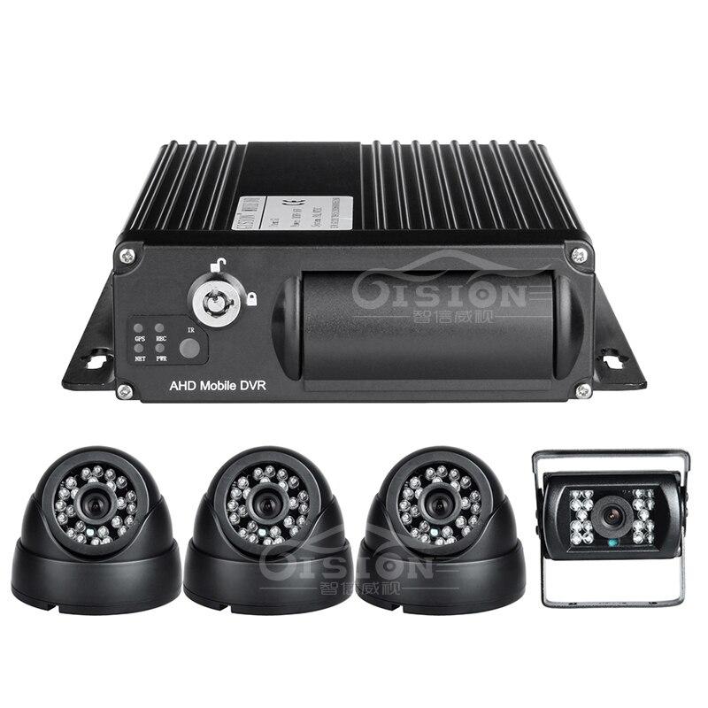 Livraison gratuite 3G en ligne AHD Mobile Dvr, 4CH 1080 P voiture Dvr + 4 caméras Bus Taxi voiture véhicule surveillance Mdvr avec alarme e/s - 2