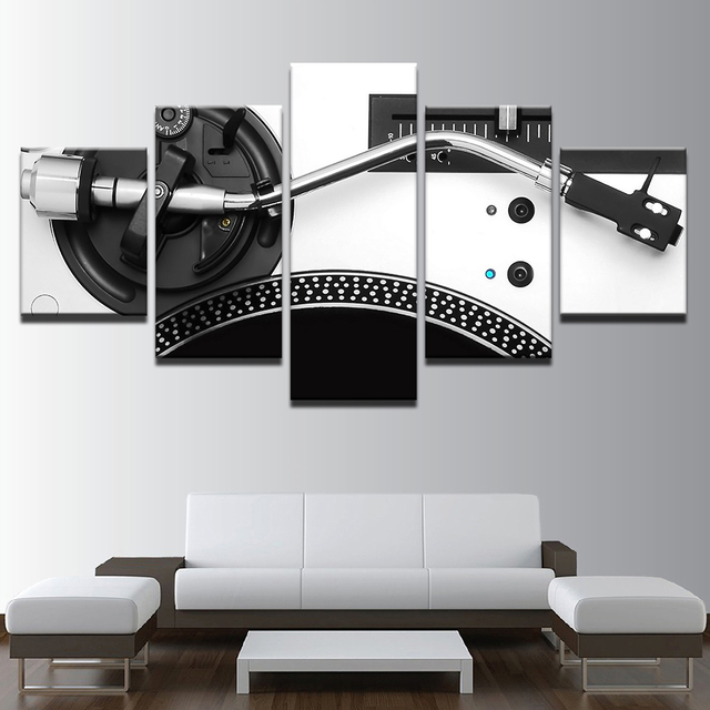 Perfect Modular Pictures Home Decor Canvas HD Print 5 Piece Music DJ Console  Instrument Mixer Painting Living