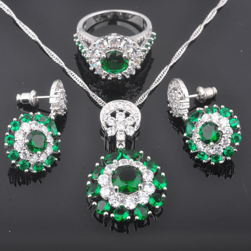 FAHOYO Noble Green Zirconia Womens 925 Silver Wedding Jewelry Sets Earrings/Pendant/Necklace/Rings Free Shipping QZ087