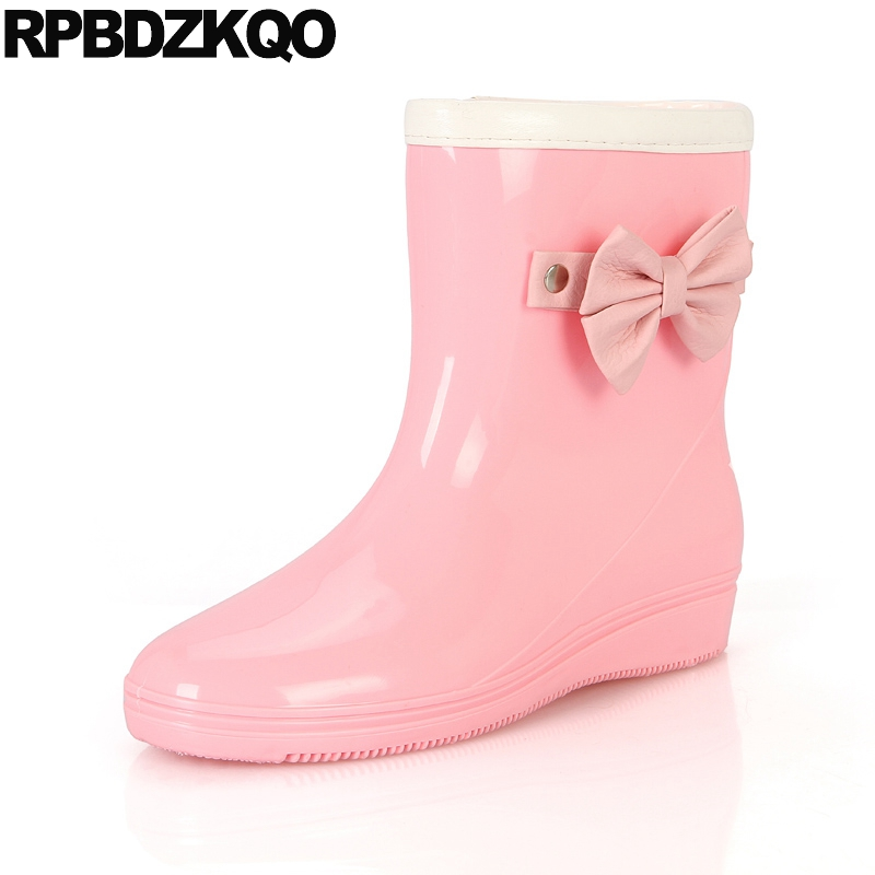 Round Toe Pink Winter Slip On Short Candy Cheap Ankle 2017 Autumn Waterproof Rain Boots Shoes Ladies Mid Calf Female New Fashion 2016 winter women short snow boots fashion suede round toe low heel shoes big size 30 52 ladies slip on mid calf tassel boots
