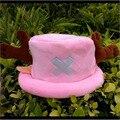 Горячие продажа Симпатичные Мультфильм Животных шляпы One Piece Чоппер плюшевые косплей hat после Розовый цвет Плюшевые Мягкие шапки Earmuff