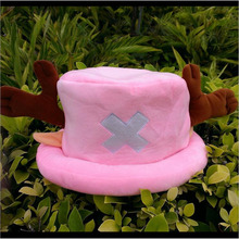 Hot sale Cute Cartoon Animal hats One Piece Chopper plush cosplay hat after Pink color Plush Soft caps Earmuff