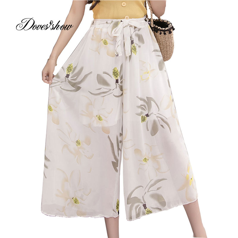 2018 Spring Summer New High Waist Floral Chiffon   Wide     Leg     Pants   Skirts Elastic Casual Loose   Pants   Thin Cropped Trousers Women