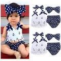 Terno do bebê verão!! 2016 atacado meninas do bebê infantis roupas âncora halter tops + polka dot calcinhas outfits set sunsuit 0-24 M