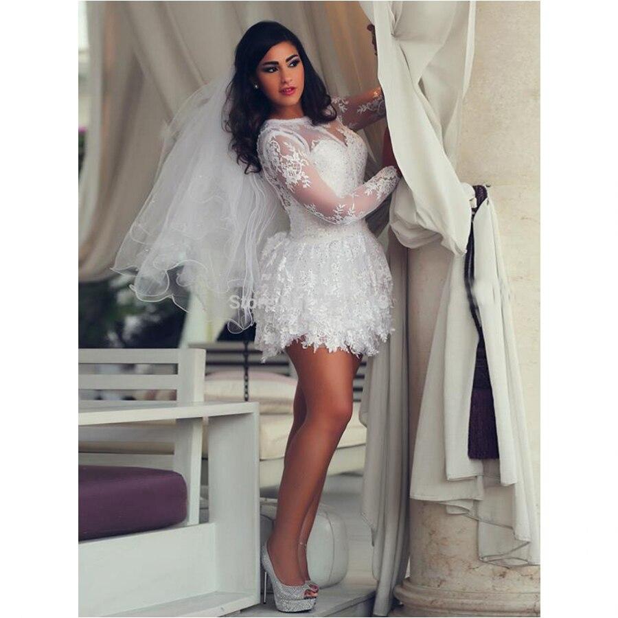Lace Short Wedding Dress Long Sleeves Vintage Plus Size Bridal Gowns  Vestido De Novia 2017 Fall|bridal gown|lace short wedding dressplus size  bridal gown - AliExpress