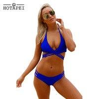 Hotapei Royal Blue Strappy Crisscross Sexy Two Piece Swimsuit 2017 Women Latest Sexy Bandage Secret Bikini