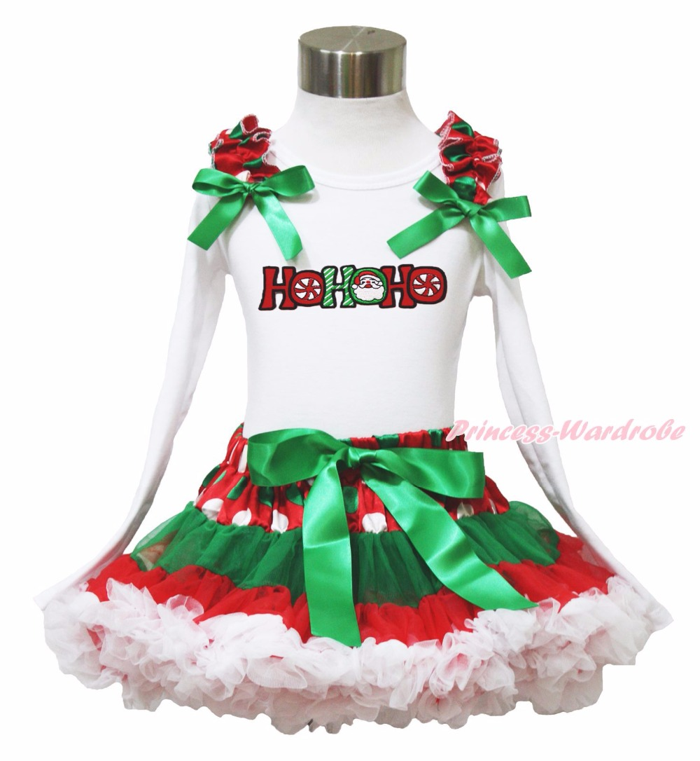 Xmas Rhinestone Elf Socks Rhinestone Minnie My First Christmas Socks L/s Top Green White Dot Red Skirt Baby Girl Outfit 1-8Y my christmas cd