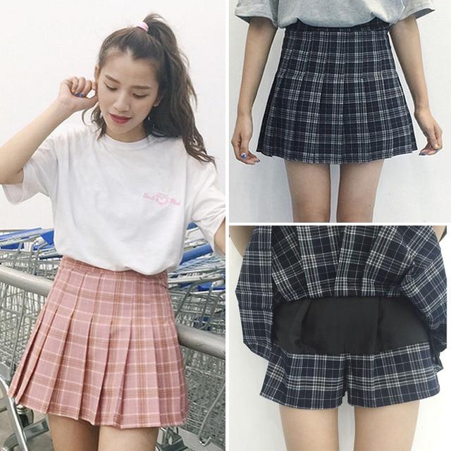 21d887e11f Harajuku women skirts 2019 Korean Summer Style New Plaid Pleated Skirt Rock  Kawaii High Waist Fashion Women Skirt S-3XL