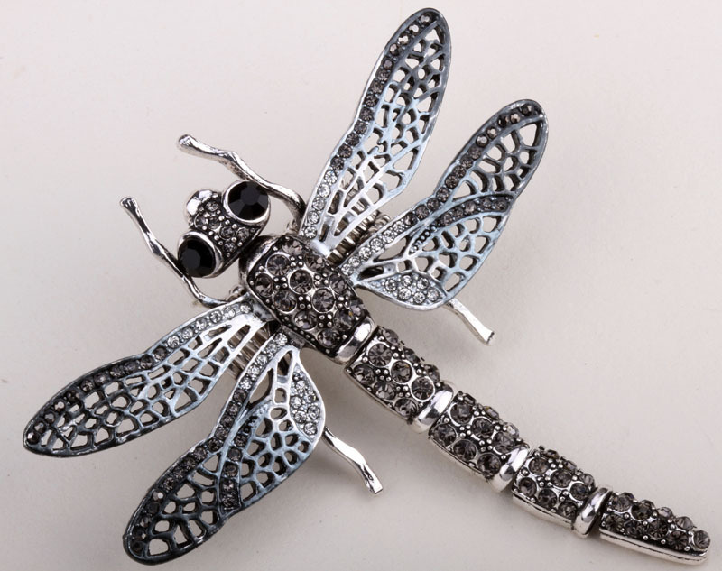 2 grandes libélulas en Antik color plata