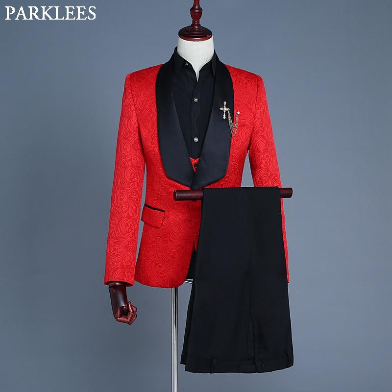 2018 Jacquard 3 pièces ensemble costume (veste + gilet + pantalon) pur col châle hommes robe rouge Costumes bal danse dîner chanteur Costumes porter