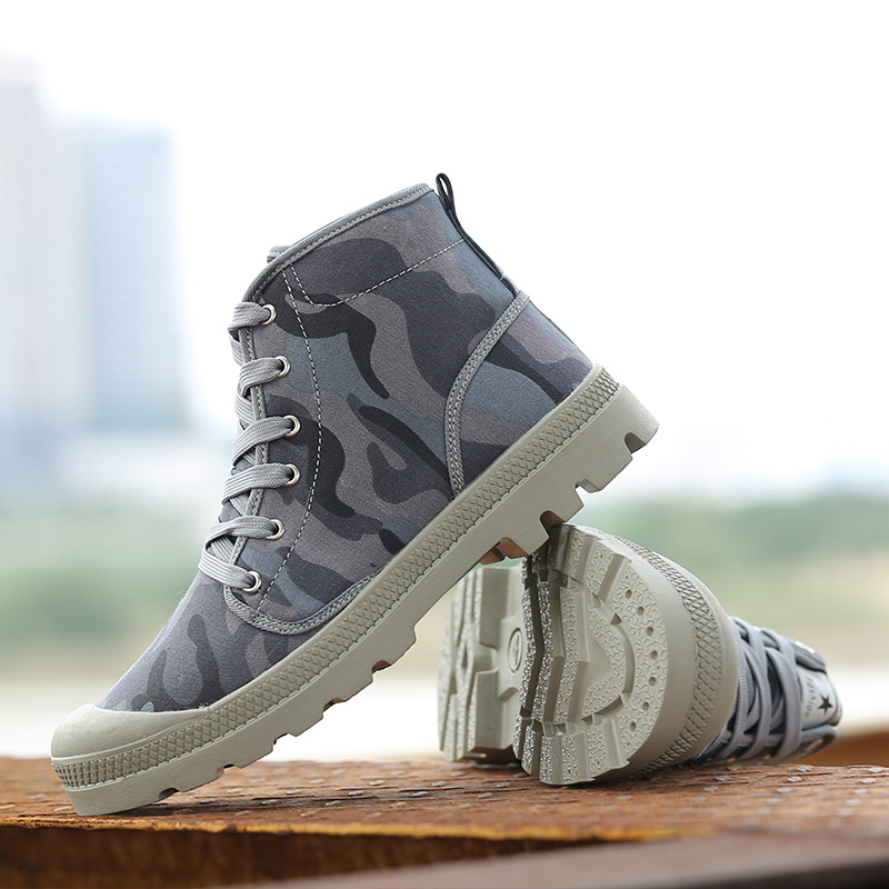 New Fashion Camouflage Tactical Boots Lace Up Round Toe Rubber sole men Military Boots Assault Canvas