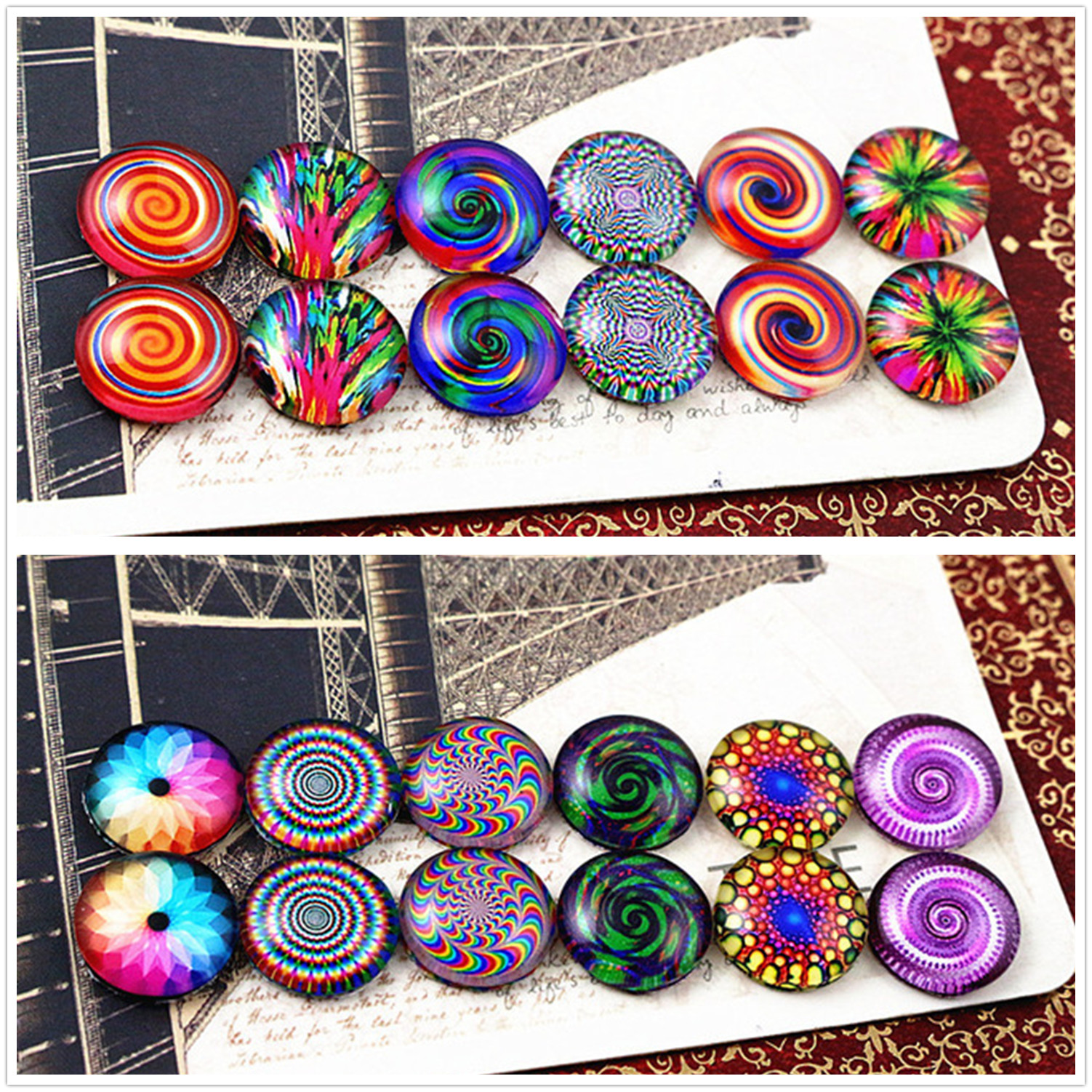 12pcs/lot (One Set) Two Style 12mm Fashion bright color Handmade Glass Cabochons Pattern Domed Jewelry Accessories Supplies12pcs/lot (One Set) Two Style 12mm Fashion bright color Handmade Glass Cabochons Pattern Domed Jewelry Accessories Supplies