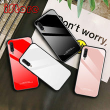 TPU soft edge Solid color glass back phone case for Samsung A50 Galaxy A70 A60 A40 A30 A10 protective case(China)