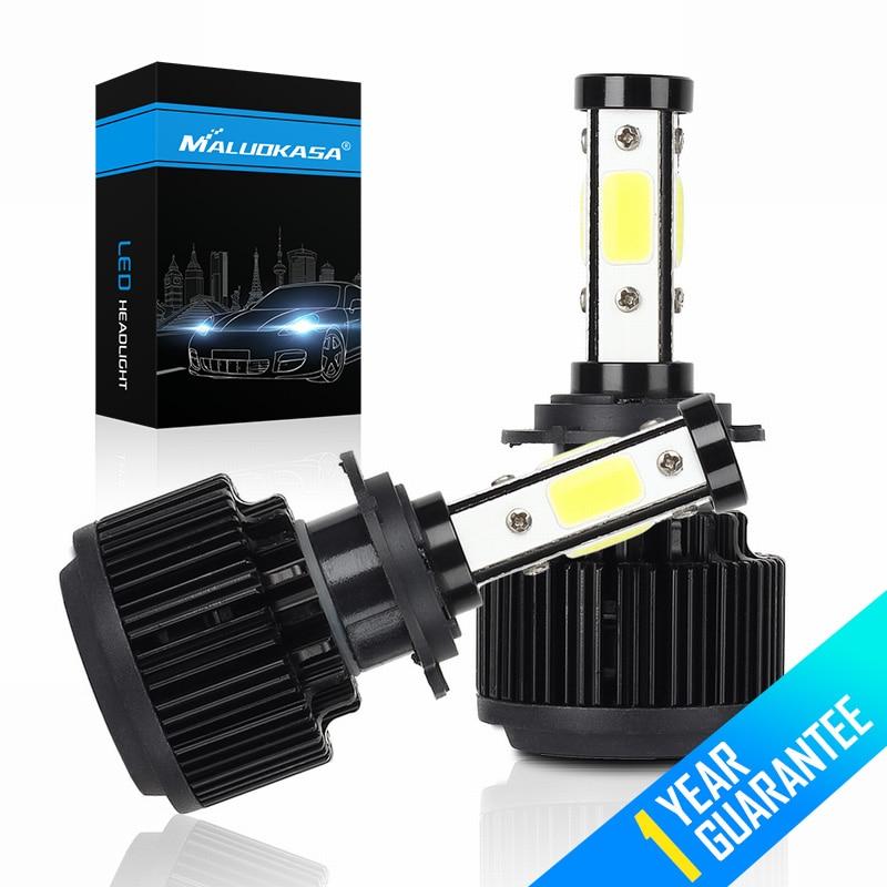 все цены на MALUOKASA 2PCs X6-COB 4 Sides LED H7 H4 Car Headlight H8 H11 H13 9004 9005 9006 9007 9012 5202 6500K 50W 16000LM Lamp for BMW