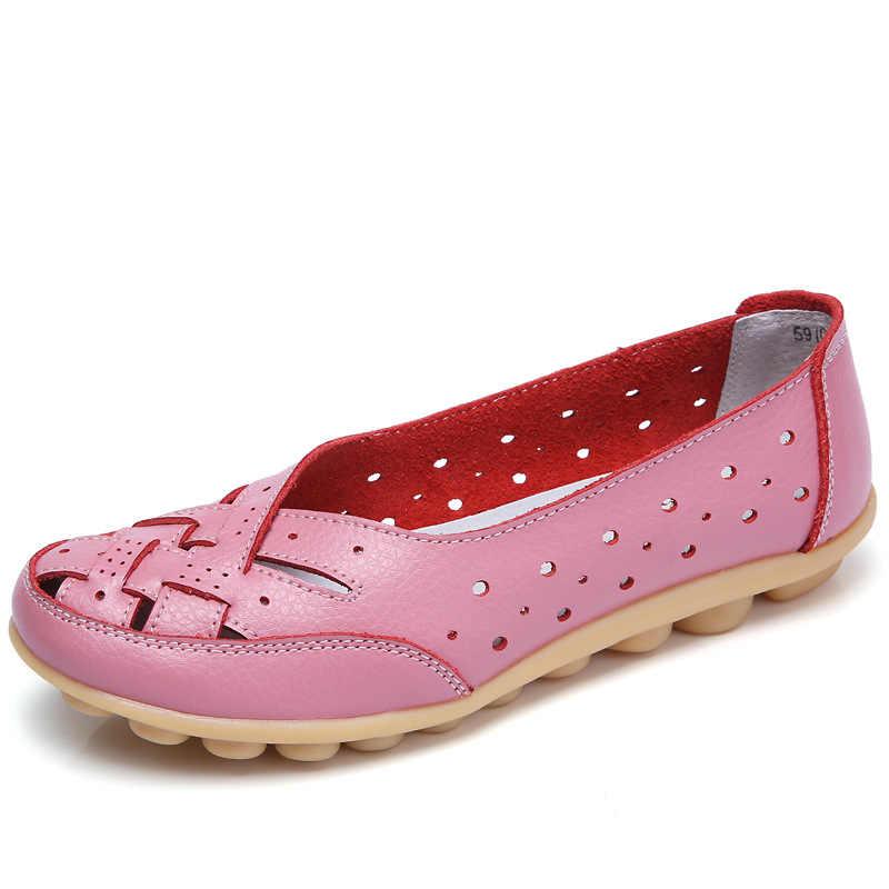 Kadınlar Flats Sıcak Kadın Ayakkabı Artı Boyutu 35-44 Loafer'lar Kadın Içi Boş düz ayakkabı Kadın Hakiki deri ayakkabı Kadın Rahat Moccasins