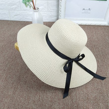 e25e6b83d3514a Sommer reise strand hüte wilde fahrt stroh hut big bowknot ribbon stroh  kappe damen UV schutz