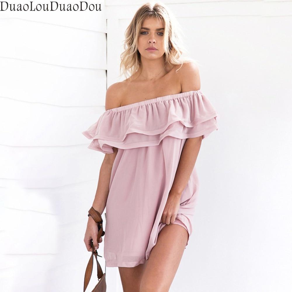 New Summer women off the shoulder dress mini short sleeve Lotus slash neck loose club dresses sexy Casual dress S M L XL