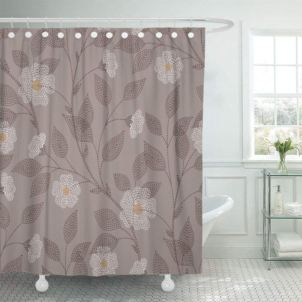 Us 17 48 30 Off Fabric Shower Curtain With Hooks Abstract Embroidered Flowers And Leaves On Brown For Your Design Autumn Bloom Blossom In Shower
