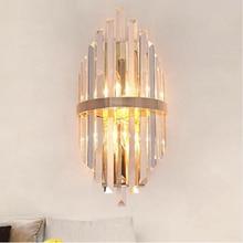 Современная спальня ночники гостиная ТВ стены crystal led лампа прохода лестницы фонари вилла роскошные высокого класса кристалл настенные светильники