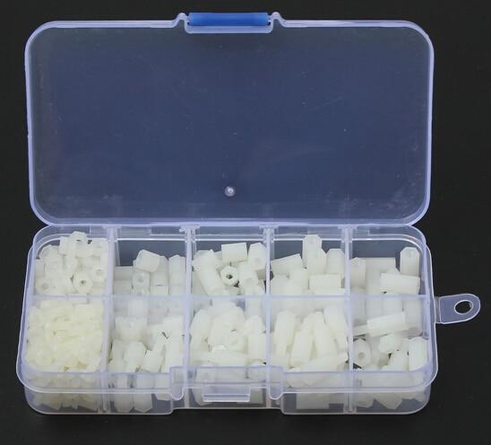 300pcs M3 Nylon White Hex Screw Nut Spacer Stand-off Varied Length Assortment Kit Box 150pcs m3 white hex spacers nylon screw nut washer assortment standoff kit stand off plastic