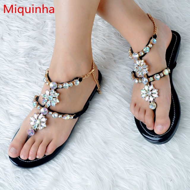 de9e493cc06f9 Miquinha Bling Crystal Flower Decor Jeweled Sandals Metal Chain Women Flats  Open Toe Girl Lady Runway Super Star Mujer Sandalia
