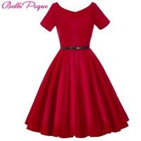 Belle Poque Phụ Nữ Ăn Mặc 2017 Retro Cổ Điển Ngắn Tay Màu Đen Đỏ Mùa Hè Ăn Mặc Áo 1950 s 60 s Rockabilly Swing đảng Dresses