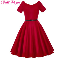 Women Dress 2016 Retro Vintage Short Sleeve V Neck Black Red Summer Dress Tunic Vestidos 1950s