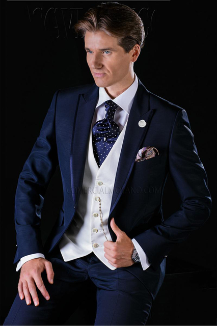 Italian Navy Blue Tuxedos One Button mens Slim Fit Suits for Wedding ...