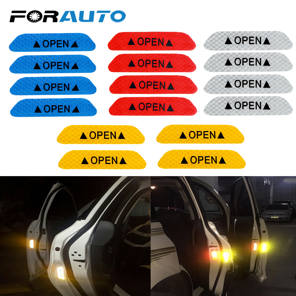 FORAUTO 4Pcs/set Car Door Stickers Universal Safety Warning Mark OPEN High Reflective Tape Motorcycle Bike Helmet Sticker