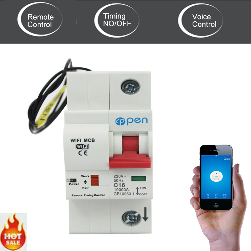OPEN 1P 16A Remote control Wifi Circuit Breaker/ Smart Switch/ Intelligent automatic Recloser support Alexa and google home