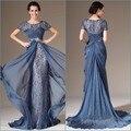 Custom made 2015 Nueva Sexy Scoop Cuello Elegante de La Sirena Diseño más el tamaño de la Madre De La Novia Vestidos de Encaje de Noche Baratos vestido
