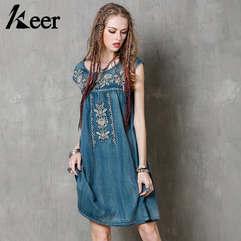 c7291e6b73 Keer Qiaowa Layered Denim Skirts Women Tiered Ruffle Mini Skirt Summer 2018 New  Arrival Vintage Embroidered ...